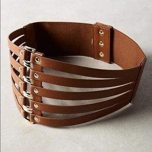 Anthropologie Brown Leather Corset Belt